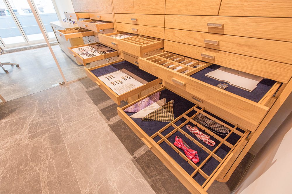 TAL Apparel Corporate Showroom_Custom Display Drawers_Designed by Sean Dix_1