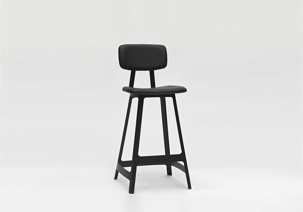 Yardbird Bar Stool Black Leather_Designed by Sean Dix